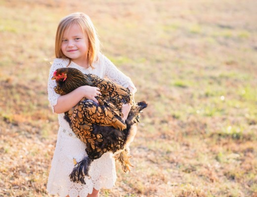 A girl and her chicken